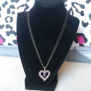Jewelry - Crystal pink heart necklace